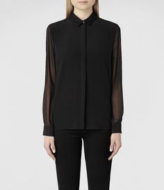 Womens Sine Shirt (Black) | ALLSAINTS.com