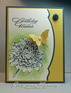 handmade birthday card from Stampin' Everything! ... like the desig ... die cut edge with Adorning Accent Edgelit ...  blue accents: button, mats, ind for flower and sentiment ... like theis card ...Stampin' Up!