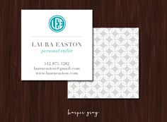 Monogram Square Calling Cards - Custom Business Cards