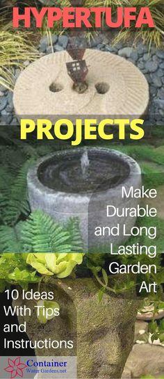 Make Lightweight Garden Art Projects That Last With Hypertufa – Container Water Gardens - DIY Garten Landschaftsbau Cement Art, Cement Crafts, Concrete Projects, Concrete Garden, Outdoor Projects, Concrete Furniture, Concrete Planters, Outdoor Ideas, Garden Furniture