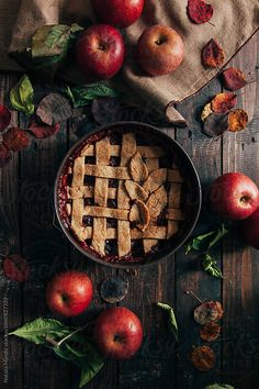 Rustic apple pie on wooden table by Nataša Mandić for Stocksy United - Food Photography Inspiration - Food Styling, Rustic Food Photography, Autumn Aesthetic Photography, Photography Tips, Kirlian Photography, Apples Photography, Photography Composition, Autumn Photography, Photography Website