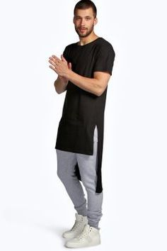 Extreme Longline Crew Neck T Shirt at boohoo.com