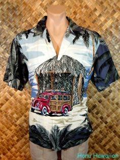 KALAHEO mens HAWAIIAN WOODY BEACH HUT PICTORIAL Print Shirt - Medium #Kalaheo #Hawaiian