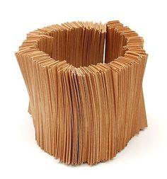 ANNELIES PLANTEYDT (1956) - Bracelet build from cardboard strips, design & execution 1982-'83