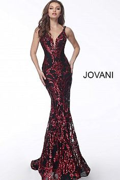 Black red long fitted plunging neckline sleeveless prom dress 63350. 254f5a41d