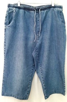 9215989450 ORVIS Pull On Capri Jeans Elastic Waist 100% Cotton Light Wash Size L (size