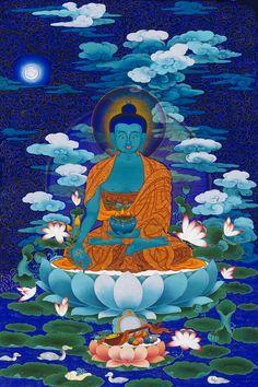 Medicine Buddha Mantra in Sanskrit long version: Om Namo bhagawate Bhaishjaya Guru Vaidurya Prabha Rajaya Tathagataya Arhate Samyaksam Buddhaya Teyatha Om Bekhajye Bekhajye Maha Bekhajye Bekhajye Rajaya Samudgate Svaha Gautama Buddha, Buddha Buddhism, Tibetan Buddhism, Lotus Buddha, Art Buddha, Buddha Kunst, Thangka Painting, Buddha Painting, Tibet