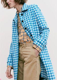 J. Crew Gingham Car Coat, Boyfriend Shirt in Topaz Plaid, Boyfriend Chino Pant and Gold Circle Earrings