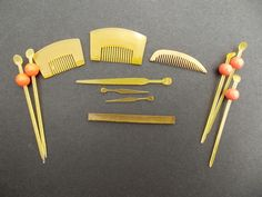 assorted miniature Kanzashi combs and hair Items for Japanese dolls