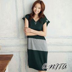 ANITA-歐系情緣-雙色立體感V領洋裝-綠色 | 奇摩新玩具