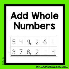 This week's post is about teaching how to add whole numbers. The standard is use place value understanding and properties of operations to perform multi-digit arithmetic. Pin this post for lesson plans, task cards and center games. 5th Grade Teachers, Fourth Grade Math, Second Grade Math, Fifth Grade, Reading Centers, Math Centers, Math Teacher, Teaching Math, Go Math