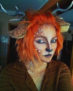 Deer makeup A deer cosplay a made last year. Deer Makeup, Animal Makeup, Makeup Art, Makeup Ideas, Deer Costume Makeup, Faun Costume, Face Paint Makeup, Fairy Makeup, Sfx Makeup