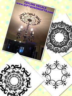 Ceiling medallion decal - Could be done cheaper with paint and a stencil (or hand sketch). Diy Chandelier, Chandeliers, Vinyl Projects, Home Projects, Homemade Crafts, Diy Crafts, Paris Rooms, Le Closet, Wall Decals