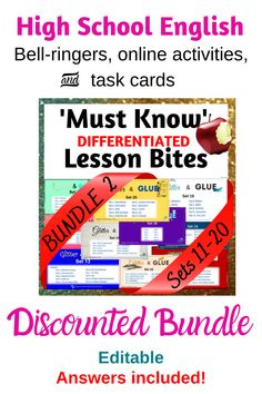 Core skills for the High School English classroom - present on your big screen as lesson starters / bell ringers, share online for homework or early finishers, or use for targeted teaching or even emergency relief. Guaranteed to give English/ELA teachers piece of mind that they're covering all the necessities! Literacy Strategies, Bell Ringers, High School English, Narrative Writing, English Classroom, Early Finishers, Share Online, Critical Thinking Skills, Figurative Language