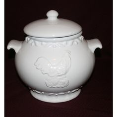 Vinage Large White Tureen ($55) ❤ liked on Polyvore featuring home, kitchen & dining and serveware