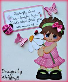 ELITE4U-GIRL-LADYBUG-BUTTERFLY-paper-piecing-premade-scrapbook-page-WOLFFEY5