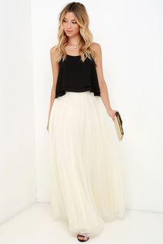 Scoop of Sorbet Cream Tulle Maxi Skirt and cute black crop