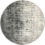 Retro Black/Grey 8 ft. x 8 ft. Round Area Rug