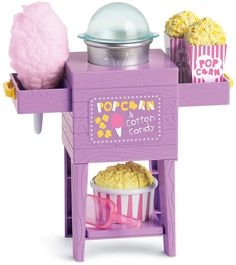 American Girl WellieWishers Popcorn & Cotton Candy Cart - - Serve up some fun with this American Girl Popcorn & Cotton Candy Cart! American Girl Doll Sets, American Girl Crafts, American Girl Food, American Girl Bedrooms, American Girl Furniture, Barbie Outfits, Barbie Clothes, Fashion Outfits, Doll Crafts