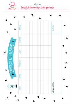 Emploi du temps � imprimer bleu et noir Diy Organisation, Journal Organization, College Organization, Printable Planner, Printables, Back To School List, Life Planner, Filofax, Bullet Journal