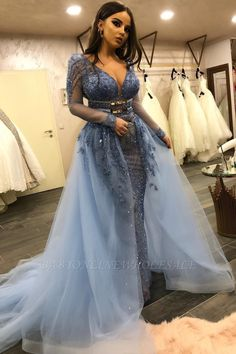Gorgeous Long Sleeves V-Neck Lace Beaded Mermaid Prom Dresses with Over Skirt Fitted Prom Dresses, Mermaid Prom Dresses, Wedding Dresses, Bridal Gowns, Formal Dresses, Cheap Prom Dresses Online, Mint Green Dress, Latest Fashion Dresses, Uk Fashion