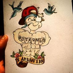 Mate asked me to draw him a Popeyes tattoo, this is what I came up with :) #popeye #spinach #sailor #creative #tattoo #design #tattooartist #artist #cartoon #cartoonist #tattoodesign #tatt #strong #iamwhatiam #iyamwhatiyam #traditional #awesome #pot #inspiration #motivation #drawingoftheday #draw #drawingtime #prismacolor #coloring #therapy #ink #inkspiration #fanart