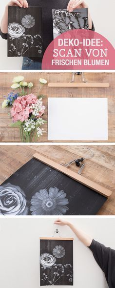 DIY-Anleitung für Wanddeko: Scan von frischen Blumen, Blumen DIY / diy tutorials: use fresh flowers for wall decoration, crafting wallart via DaWanda.com