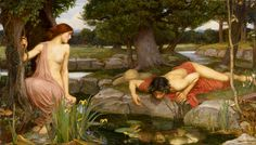 Echo and Narcissus, by John William Waterhouse, 1903. Gods and Foolish Grandeur blog.