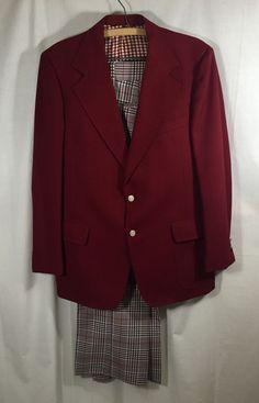 9ad704870c3 Vtg Burgundy Plaid Suit Jacket Pants Anchorman Shirt Arnold Palmer Original  Red