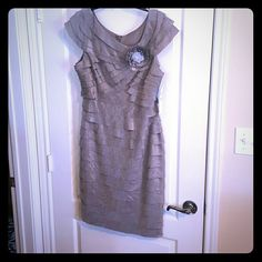 Cocktail Dress BRAND NEW, NEVER WORM silver cocktail dress London Times Dresses