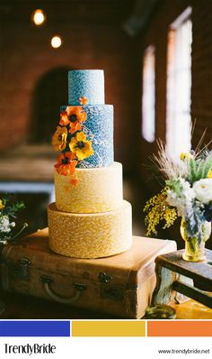 "A Van Gogh-Inspired Wedding Cake. Vincent Van Gogh's painting ""Landscape with Wheat Sheaves and Rising Moon"" was the inspiration for Superfine Bakery's Andrea Boudewijn's four-tier confection she channeled painterly technique using tinted royal icing. Beautiful Wedding Cakes, Gorgeous Cakes, Pretty Cakes, Amazing Cakes, Cupcakes, Cupcake Cakes, Themed Wedding Cakes, Cake Wedding, Wedding Mandap"