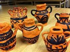 The Ancient Greek Pottery project was part of an integrated unit which included the study of Ancient Greece in ELA, Social Studies, Visual . 3d Art Projects, Ceramics Projects, Greek Crafts, Greece Art, Ancient Greek Art, Ancient Greece For Kids, Model Magic, Greek Pottery, Roman Art