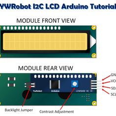 Focuses on connecting and establishing communication with a YWRobot LCD. Includes pin outs, connection diagram and sketch. Arduino Projects, Electronics Projects, Lcd Arduino, Arduino Display, Micro Computer, Logo, Bench, Computers, Engineering