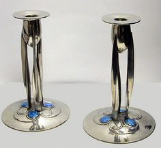 OnlineGalleries.com - Archibald Knox Liberty Enamel and Pewter Candlesticks, Liberty & Co C.1902