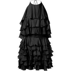 Balmain Ruffled Black Silk Dress (23.560 RON) ❤ liked on Polyvore featuring dresses, pleated silk dress, open back dress, frill dress, ruffle dress and flouncy dress