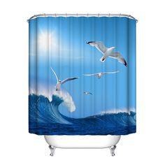シャワーカーテン海スターポリエステル浴室カーテンdouchegordijn blauw浴室用品新しいスタイル最新