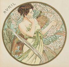 ❤ - Alphonse Mucha | The Months - April, 1899.