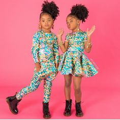 Look at my babes 🥰 styling in their neon kisses metallic leopard fits! Black Kids Fashion, Cute Kids Fashion, Little Girl Fashion, Little Girl Swag, Cute Little Girls Outfits, Kids Outfits, Cute Black Kids, Cute Twins, Julia