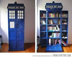 If I could only have one bookcase.... Travels through space and time. Bigger on the inside than the outside!