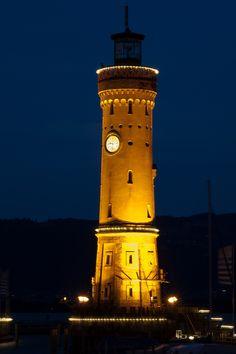 Lindau Hafen der Leuchtturm bei Nacht