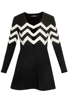 Black and white chevron stripes neoprene dress available only at Pernia's Pop Up Shop.