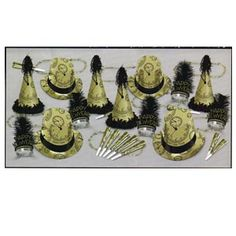 """The Gold Midnight Assortment for 50 people. Assortment includes 15 printed foil hi-hats, 10 printed foil party hats w/fringe & tassel, 25 glittered plumed tiaras, 50 9"""" printed foil horns & 25 36"""" Happy New Year beads, complete in a corrugated shipper."""