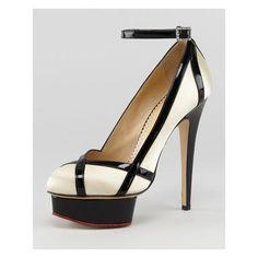 Women's Charlotte Olympia Harlequin Patent-Trimmed Satin Pump