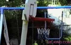 Kid Gets Trapped In Basketball Hoop
