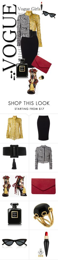 """Envogue Style💋"" by michelledevon ❤ liked on Polyvore featuring Roberto Cavalli, Miss Selfridge, Yves Saint Laurent, MSGM, Dsquared2, Dorothy Perkins, Chanel, Valentin Magro, Le Specs and Christian Louboutin"