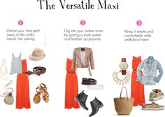 """How to accessorize a maxi and wear it 3 different ways // """"The Versatile Maxi"""" by daily-charms on Polyvore"""
