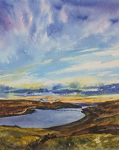 Watercolor painting by artist Lisa Hill of the Columbia River & Mt. Hood