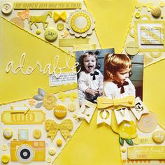 Up for a fun challenge? Try scrapping with just one color! Don't worry, it's actually not as hard as it may sound once you bring in all the embellishments and different tints, tones, and shades of a single color – they all work together to create a stunning monochromatic layout! ADORABLE by Paige Evans Yellow, …