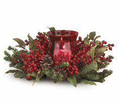 """Christmas Holiday Red Berry Floral Candleholder by Burton + Burton. $59.95. Polysilk arrangement.. Candle not included.. Red berry and silk greenery candle holder with glass globe.. Approximately 16 1/2"""" Diameter. Glass globe: 6 1/2""""H X 4 1/2""""Diameter.. Red berry and silk greenery candle holder with glass globe. Approximately 16 1/2"""" Diameter. Glass globe: 6 1/2""""H X 4 1/2""""Diameter.  Candle not included."""