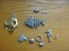 Nine ocean themed pendants for jewellery making Kids Rings, Small Rings, Jewelry Making Supplies, Jewellery Making, Vintage Rhinestone, Vintage Silver, Uk Shop, Shells, Beaded Bracelets
